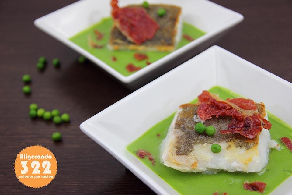 Recetas bajas en calorías, Bacalao con guisantes, receta con jamón, preparación receta, receta ligera, receta con bacalao, lomo de bacalao, recetas bajas en grasa
