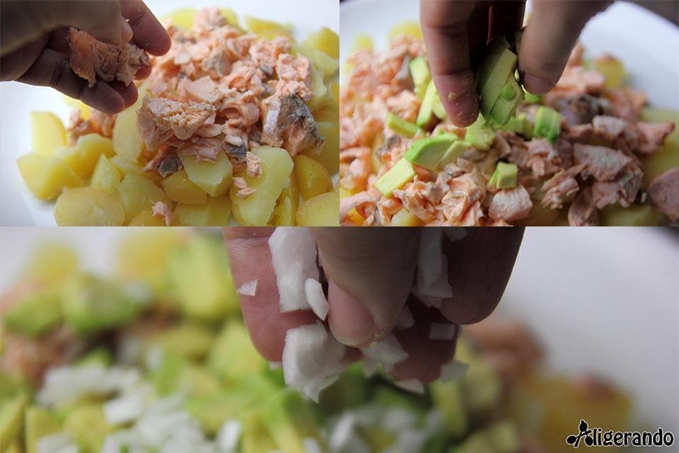 Ensaladilla de salmón y aguacate, recetas con salmón, salmón, recetas con aguacate, aguacate, recetas con patatas, patatas, recetas con pepinillos, pepinillos, recetas con yogur, yogur, aligerando, restando calorías, recipe, receta, recipes, recetas, cocina ligera, receta baja en grasa, receta con número de calorías, calorías, receta calorías, cocina sana, receta sana, receta rica y sana, rico, sano, saludable, healthy, healthy food, receta light, light, receta saludable, receta foto, fotoreceta, receta paso a paso, receta baja en calorías, receta fácil, receta rápida, receta fresca, recetas frescas, recetas verano, receta verano, adelgazar, adelgazar comiendo, recetas para perder peso, receta para perder peso, recetas perder peso, receta perder peso, sin gluten, receta tupper, receta táper, tupper, táper.
